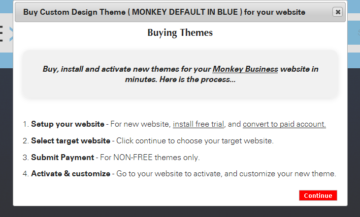 How to buy and install a custom design theme for Monkey Business