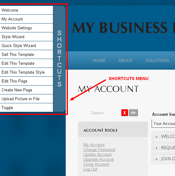 Access your most important tools from any webpage with the Monkey Business Shortcuts Menu