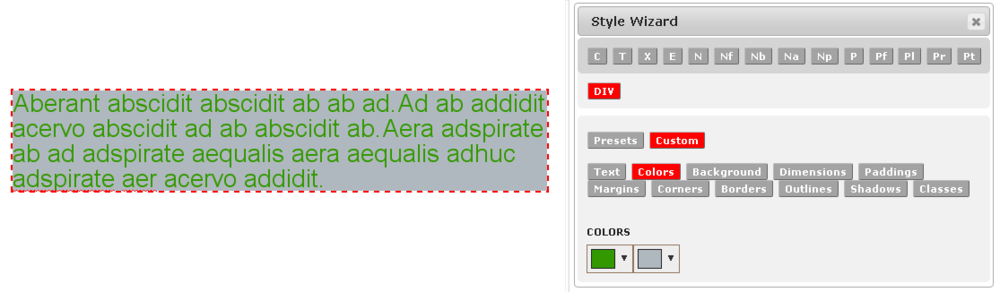 Custom Color Style Example 1 in the Monkey Business Editor