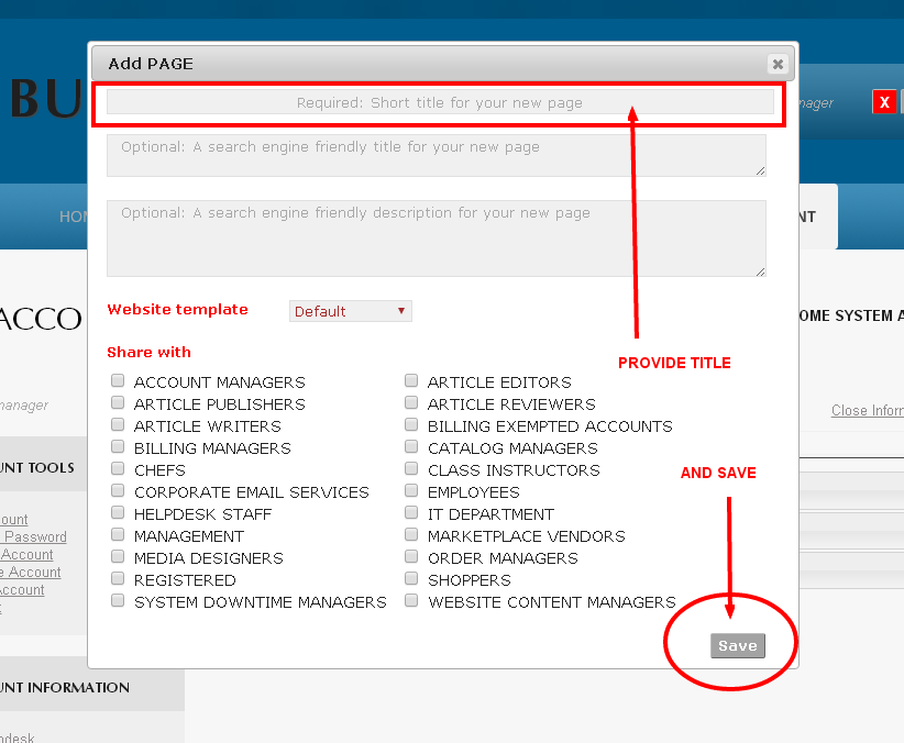Provide a Page Title and Save to create a new Webpage using the Add Page tool in Monkey Business