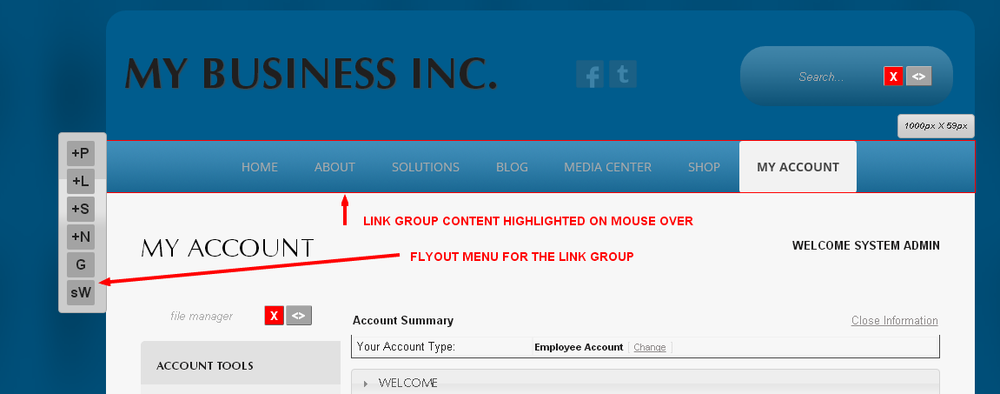 Accessing the Content Flyout menu for a Link Group in Monkey Business