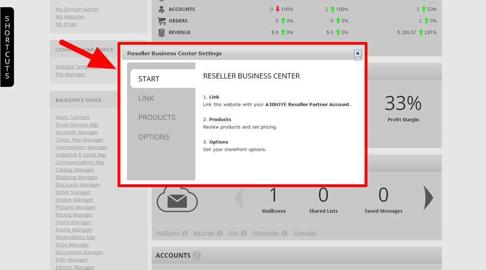 Accessing the Reseller Business Center Settings